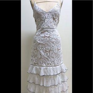 Bohemian Ruffle Dress with Hand Made Lace Work.